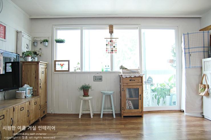 시원한 여름거실 인테리어] -거실가벽, 페인트로 리폼하기