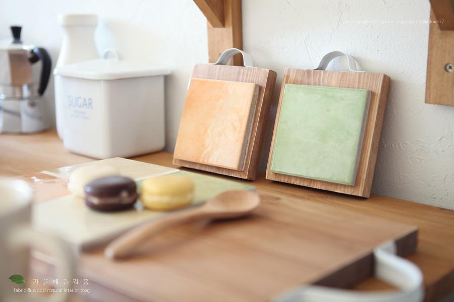 우드도마 DIY~ 주방용품 타일트레이 컵받침세트