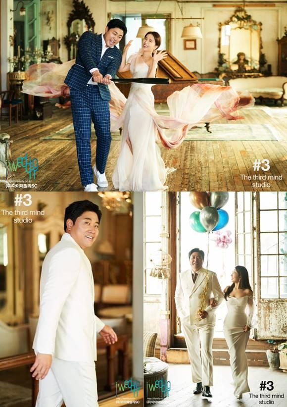 결혼을 두 달 남겨둔 양준혁과 박현선 커플이 웨딩화보로 훈훈한 비주얼을 뽐냈다. /아이웨딩 제공