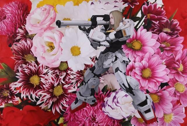 낸시랭은 11월3일 개인전 오프닝에는 캔버스 200호 사이즈의 대작 극사실주의 유화 작품 등 총 17점을 선보인다. 이번 개인전 컨셉트는 자연의 화려한 꽃과 대조를 이룬 로봇 메카닉이 믹스된 이미지의 '스칼렛(Scarlet)' 시리즈를 형상화했다. /낸시랭 작품