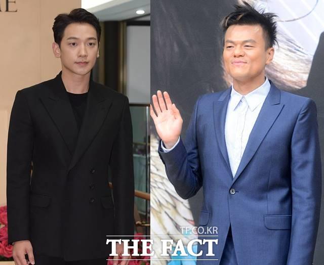 가수 비(왼쪽)가 스승 박진영과 함께 역대급 컬래버레이션을 준하고 있다고 밝혔다. /더팩트 DB