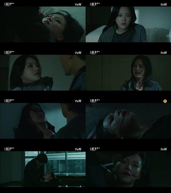 tvN 월화 드라마 '루카 : 더 비기닝' 속 정다은이 김래원과 대적해 죽음을 맞이했다. /방송화면 캡처