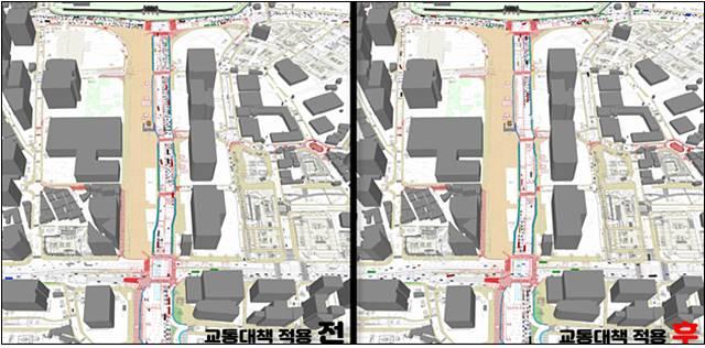 서울시가 광화문광장 동측도로 양방향 통행을 교통 시뮬레이션 프로그램으로 분석한 결과다. /서울시 제공