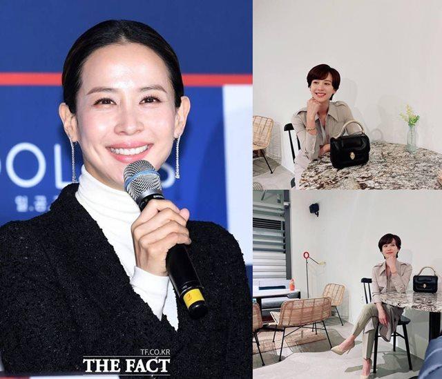 배우 조여정이 쇼트커트 헤어스타일로 변신한 모습(오른쪽)을 공개해 화제다. /더팩트 DB, 조여정 인스타그램 캡처