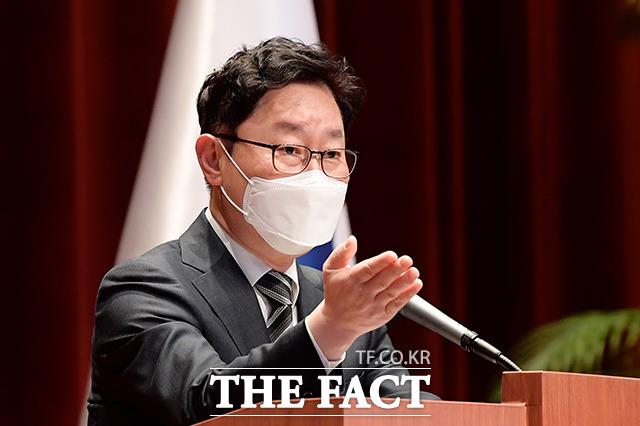 박범계 법무부 장관이 이성윤 서울중앙지검장 공소장 유출 의혹 진상조사를 지시했다./이선화 기자