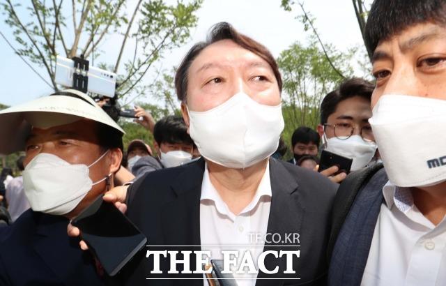 윤석열 전 검찰총장이 9일 오후 서울 중구 남산예장공원 개장식에 참석하고있다. /이동률 기자